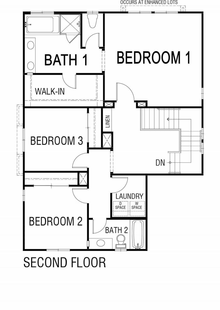 Saddlewood Floor plan Residence 2435 Second Floor