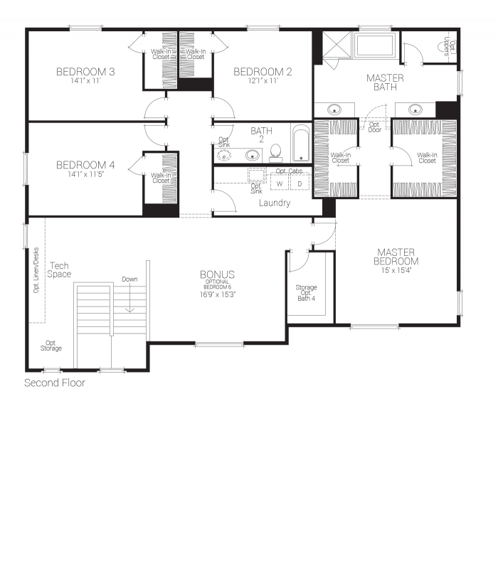 Savannah Floor plan Residence 3 Second Floor
